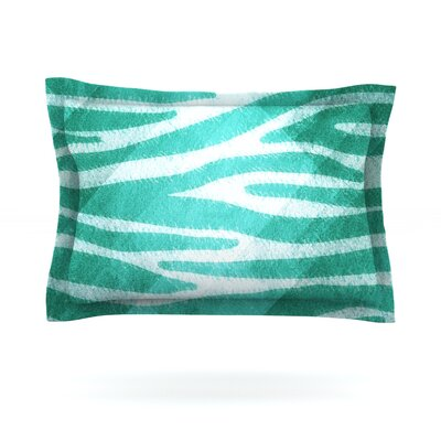 Blue Zebra Print Texture by Nick Atkinson Woven Pillow Sham Size: King