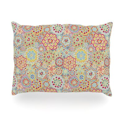 My Happy Flowers in Red Outdoor Throw Pillow Size: 14 H x 20 W x 3 D