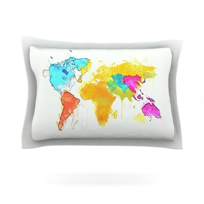 Oriana Cordero World Map Rainbow White Featherweight Sham Size: King