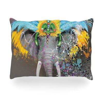 My Elephant with Headdress Rainbow Outdoor Throw Pillow Size: 14 H x 20 W x 3 D