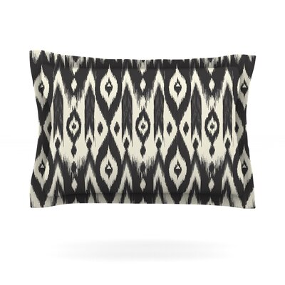 Amanda Lane Black Cream Tribal Ikat Tan Dark Featherweight Sham Size: King