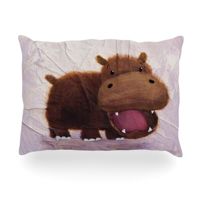 The Happy Hippo Outdoor Throw Pillow Size: 14