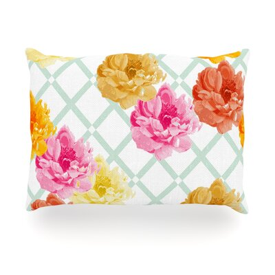 Trellis Peonies Flowers Outdoor Throw Pillow Size: 14 H x 20 W x 3 D