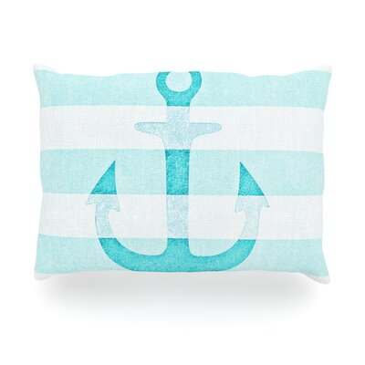 Stone Vintage Aqua Anchor Outdoor Throw Pillow Size: 14 H x 20 W x 3 D