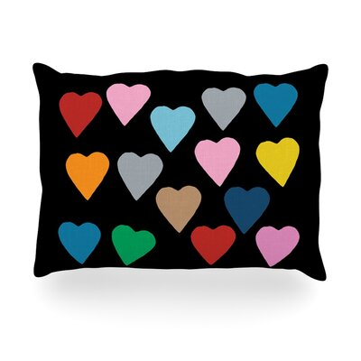 Hearts Color on Black Outdoor Throw Pillow Size: 14 H x 20 W x 3 D