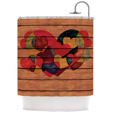 Wooden Heart Shower Curtain