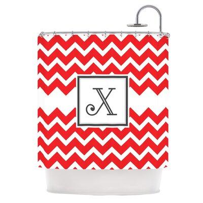 Monogram Chevron Shower Curtain Letter: X