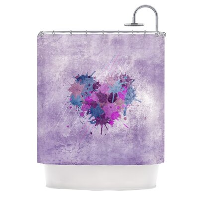 Painted Heart Shower Curtain