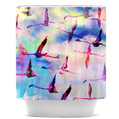 Flamingo in Flight Shower Curtain