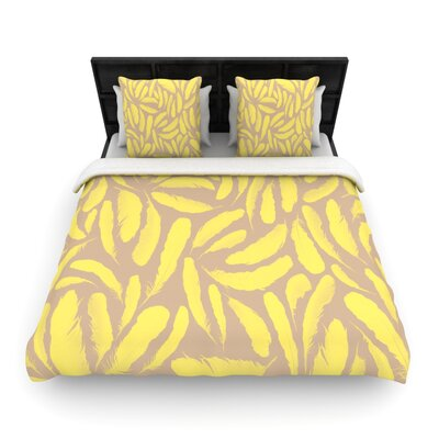 Yellow Feather by Skye Zambrana Woven Duvet Cover Size: Queen