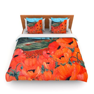 Poppies Duvet Size: Twin, Fabric: Woven Polyester