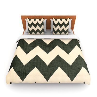 Vintage Vinyl Duvet Cover Size: Full/Queen, Fabric: Woven Polyester, Color: Dark Green