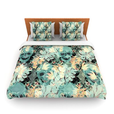 Deads Head Party by Akwaflorell Duvet Cover Fabric: Woven Polyester, Size: Queen