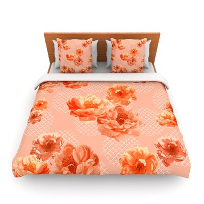 Lace Peony Woven Duvet Cover Size: Queen