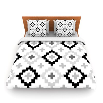 Black White Moroccan by Pellerina Woven Duvet Cover Size: King/California King