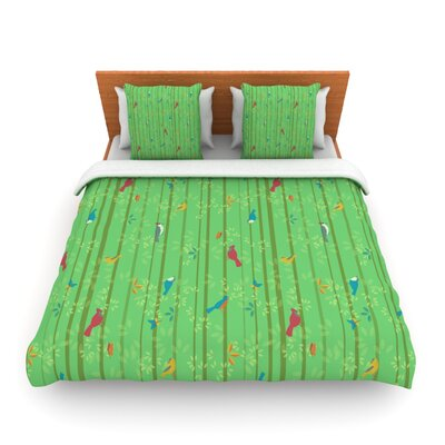 Hello Birdies by Allison Beilke Featherweight Duvet Cover Size: King/California King, Fabric: Lightweight Polyester