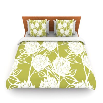 Protea Olive White by Gill Eggleston Woven Duvet Cover Size: Queen