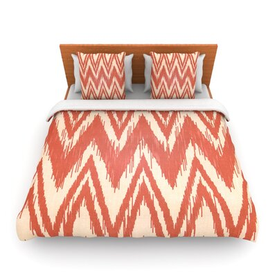 Tribal Chevron Red by Heidi Jennings Woven Duvet Cover Size: Queen