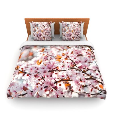 Flowering Plum Tree by Iris Lehnhardt Woven Duvet Cover Size: Twin