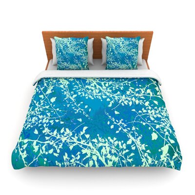 Twigs Silhouette Pastel Blue by Iris Lehnhardt Woven Duvet Cover Size: King/California King