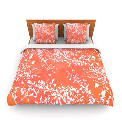 Twigs Silhouette Coral by Iris Lehnhardt Woven Duvet Cover Size: Twin
