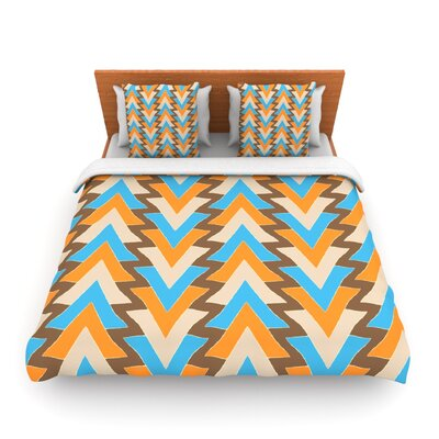 My Triangles in Blue by Julia Grifol Woven Duvet Cover Size: Queen