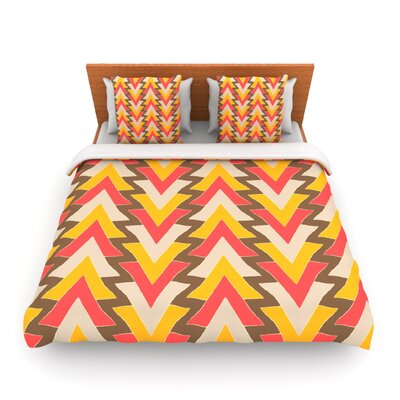 My Triangles in Red by Julia Grifol Woven Duvet Cover Size: King/California King
