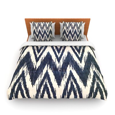 Tribal Chevron Black by Heidi Jennings Woven Duvet Cover Size: Twin