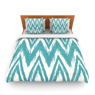 Tribal Chevron Aqua by Heidi Jennings Woven Duvet Cover Size: King/California King