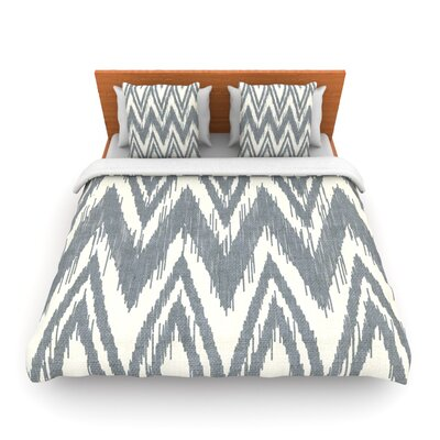 Tribal Chevron Gray by Heidi Jennings Woven Duvet Cover Size: Queen