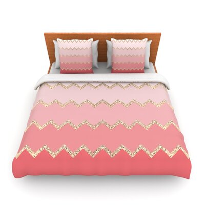 Avalon Coral Ombre by Monika Strigel Woven Duvet Cover Size: Twin