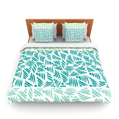 Bamboo Pom Graphic Woven Duvet Cover Size: Queen