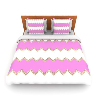 Avalon Soft Coral and Mint Chevron by Monika Strigel Woven Duvet Cover Size: Queen