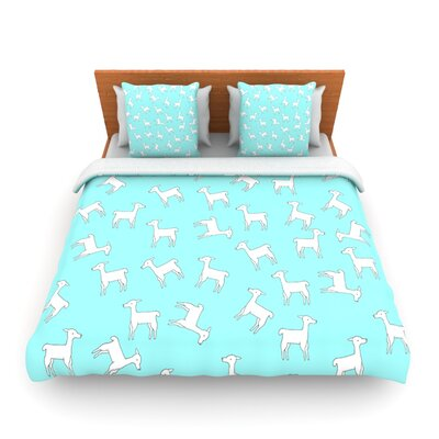 Baby Llama Multi by Monika Strigel Woven Duvet Cover Size: Twin