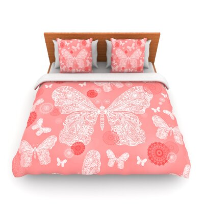 Butterfly Dreams Coral by Monika Strigel Woven Duvet Cover Size: Queen