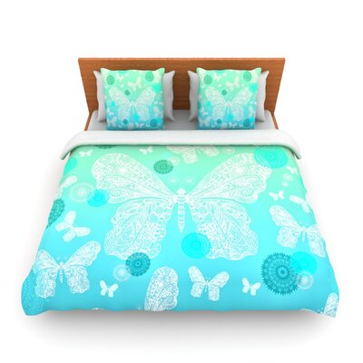 Butterfly Dreams Mint by Monika Strigel Woven Duvet Cover Size: Queen