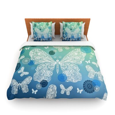 Butterfly Dreams Ocean by Monika Strigel Woven Duvet Cover Size: Twin