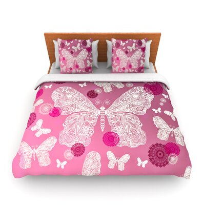 Butterfly Dreams Pink Ombre by Monika Strigel Woven Duvet Cover Size: Queen