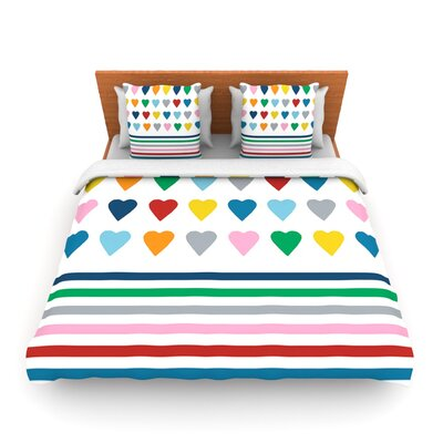 Heart Stripes by Project M Woven Duvet Cover Size: Queen