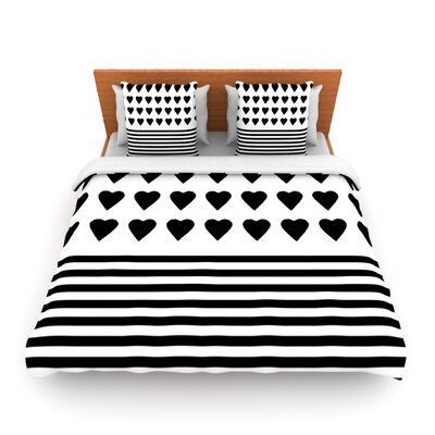 Heart Stripes Black and White by Project M Woven Duvet Cover Size: Queen