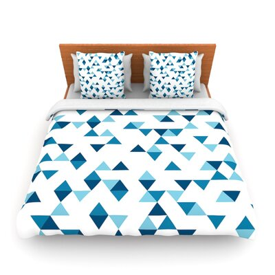 Triangles Blue by Project M Woven Duvet Cover Size: Twin