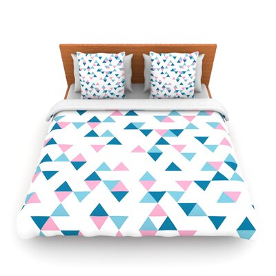Triangles Pink by Project M Woven Duvet Cover Size: Queen