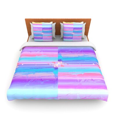 Drip Dye Warm Strid by Nina May Woven Duvet Cover Size: Twin