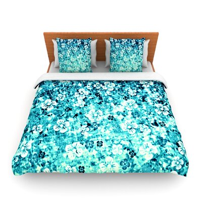 Flower Power in Blue by Ebi Emporium Woven Duvet Cover Size: Queen