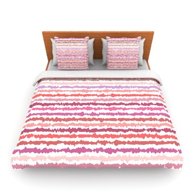Blush Stripes by Nandita Singh Woven Duvet Cover Size: Twin