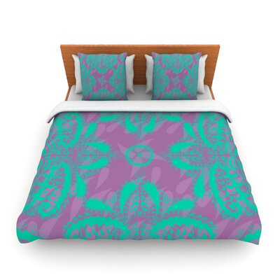 Motifs in Peach by Nandita Singh Woven Duvet Cover Size: Twin