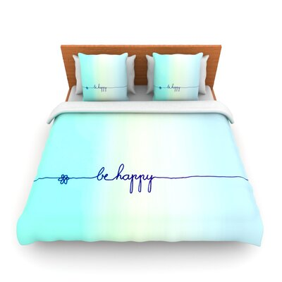 Be Happy Aqua by Monika Strigel Woven Duvet Cover Size: Twin