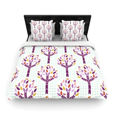 Orchid Spring Tree by Pellerina Woven Duvet Cover Size: Queen