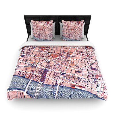 City Of London by Alison Coxon Woven Duvet Cover Size: Queen