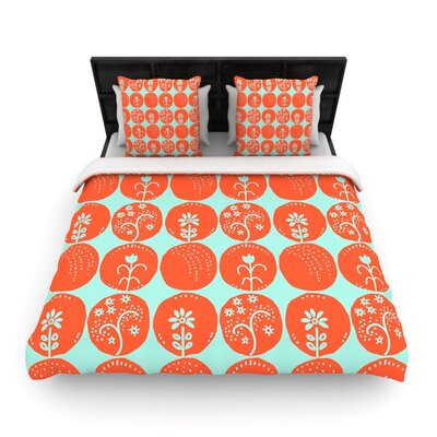 Dotty Papercut Orange by Anneline Sophia Woven Duvet Cover Size: King/California King